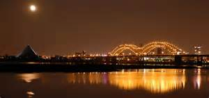 Memphis bridge at night